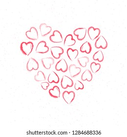 Creative heart shape made by tiny hearts on white background for Valentine's Day greeting card design.