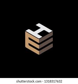 creative hexagon EH initial logo vector