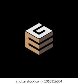 creative hexagon EG initial letter logo