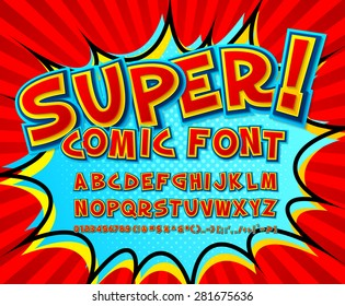 Creative High Detail Comic Font Alphabet In The Style Of Comics And Pop Art