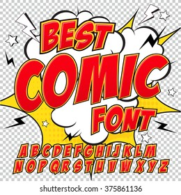creative high detail comic font alphabet in the red style of comics pop art