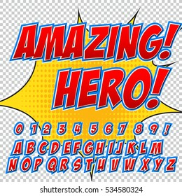 Creative high detail comic font. Alphabet of comics, pop art. Letters and figures for decoration of kids' illustrations, websites, posters, comics and banners