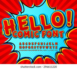 Creative high detail comic red font, explosion. Alphabet in style of comics, pop art. Multilayer funny colorful 3d letters and figures for decoration of kids' illustrations, websites, comics, banners