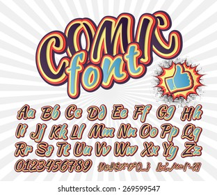 Creative high detail font for your design. 3D alphabet in the style of comics. Graphics pop - art on the background of radial lines. Bright cartoon comic. Kids letters. Vector illustration