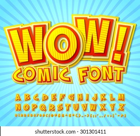 Creative high detail yellow-red comic font. Alphabet in style of comics, pop art. Multilayer funny colorful 3d letters and figures for kids' illustrations, comics, banners.
