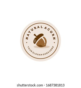 creative hipster acorn seed logo in trendy modern minimal badge style icon