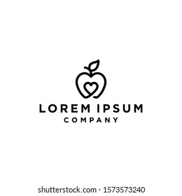 Creative hipster apple logo with love Heart Inside and leaf icon Design Symbol Illustration in trendy outline linear line style