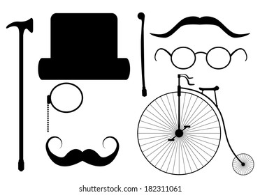 Creative hipster elements set, isolated easy to edit vector design.
