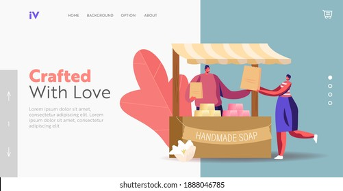 Creative Hobby, Workshop Landing Page Template. Seller Male Character at Stall Presenting Handmade Soap on Craft Market. Natural Product for Hygiene and Body Care. Cartoon People Vector Illustration