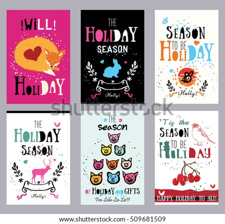 Creative holiday cards illustrations prints theme stock vector creative holiday cards illustrations and prints theme hand print cards holidays new m4hsunfo