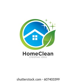 Creative Home Clean Concept Logo Design Template