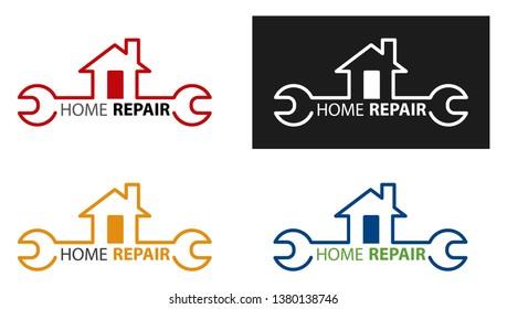 Creative Home Construction Concept Logo Design Template. Home Repair Logotype. House maintenance concept.