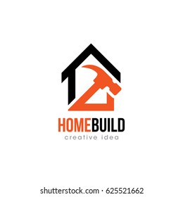 Creative Home Construction Concept Logo Design Template