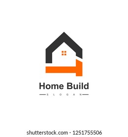 Creative Home Construction Logo With Hammer Symbol