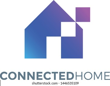 Creative Home Logo - Tech or Connected House for Real Estate Business or Automation / IoT Internet of Things