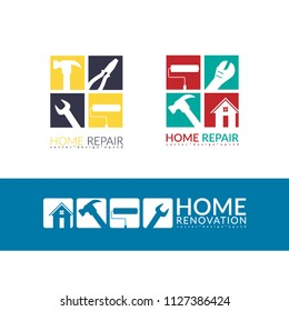 creative home repair concept, logo design template isolated on white background with space for your company text