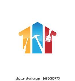 Creative home repair logo Premium Vector. Home repair logo with maintenance tools and house vector image
