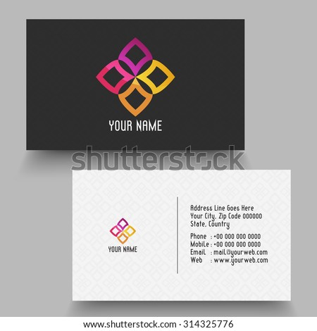 creative horizontal business card or visiting card for your company and organization
