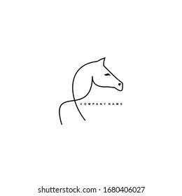 Creative horse outline logo design