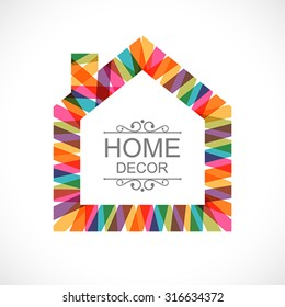 Creative house decoration with colorful abstract ribbons. Global colors - easy to change.