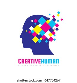 Creative human head - vector logo template concept illustration. Abstract design geometric elements. Modern digital technology sign. Innovation information business. Idea brain structure.