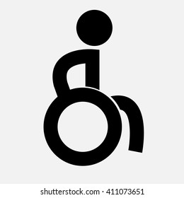 Creative icon with line man in wheelchair vector illustration. Can be use for logo.