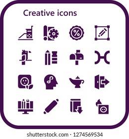 creative icon set. 16 filled creative icons. Simple modern icons about  - Vigilance, Sketch, Discount, Transform, Parrot, Pencil, Mailbox, Pisces, Plug, Mind, Magic lamp, Logout