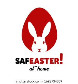 Creative icons in the labels for Happy Easter prepared for coronovirus (covid-19) Remarkable icons shows messages ''stay home at Easter'' or ''safe easter'' with rabbit and egg symbol all together.
