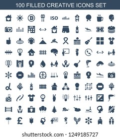 creative icons. Set of 100 filled creative icons included gay couple, teacher, sun, maraca, rose on white background. Editable creative icons for web, mobile and infographics.