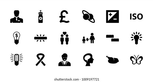 Creative icons. set of 18 editable filled creative icons: son and father, building block, energy drink, planet and satellite, bulb, businessman, gay couple, human brain