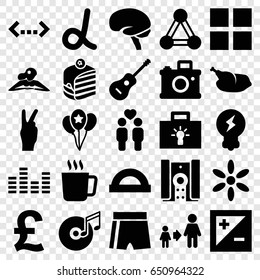 Creative icons set. set of 25 creative filled icons such as connection, mug, sun, woman in spa, son and father, piece of cake, brain, gay couple, guitar, disc and music note