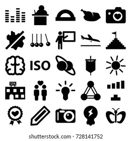 Creative icons set. set of 25 creative filled icons such as connection, plane landing, pencil, butterfly, sun, spa building, no wash, brain, signal, heart ribbon, gay couple