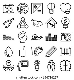 Creative icons set. set of 25 creative outline icons such as snail, connection, pencil, fence, woman in spa, equalizer, office room, brain, gay couple, minus favorite, camera