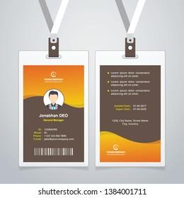 Creative ID Card. Orange Color