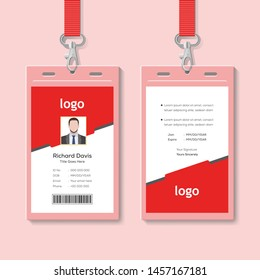 Creative ID Card Template with Abstract Red Background