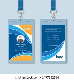Creative ID Card Template with Abstract Blue Geometric Background