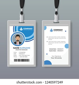 Creative ID card template with blue circles