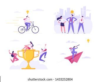 Creative Idea, Business Team, Winner Celebration, Success, Champion Leadership, Goal Achievement. Man Leader Stand on Huge Goblet, Business Vision, Future Strategy, Cartoon Flat Vector Illustration