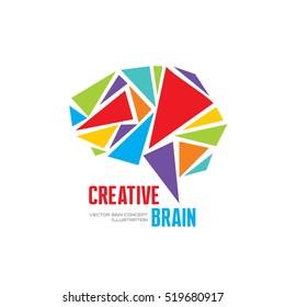 Creative idea - business vector logo template concept illustration. Abstract human brain creative sign. Infographic symbol. Triangle design element.