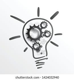 Creative and Idea concept. Hand drawing lamp bulb and sketching gears and cogs, on white paper, with realistic black gears and cogs on top. EPS10, VECTOR, Illustration.