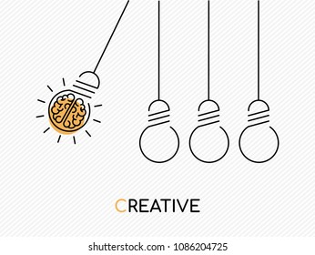 Creative idea concept illustration in modern outline design with human brain as electric light bulb. EPS10 vector.