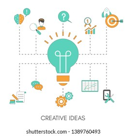 Creative idea concept with light bulb. Trendy flat design.