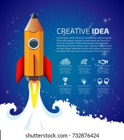 Creative idea concept - pencil as speed rocket climbing to the sky - wisdom and knowledge