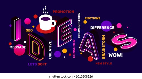 Creative idea concept with tag word, coffee cup on night background. Vector creative abstract horizontal illustration of 3d ideas word lettering typography. Isometric template business banner design
