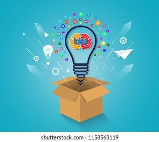 creative idea concept. think outside the box. brain icon light bulb. business financial success concept. illustration vector. startup.