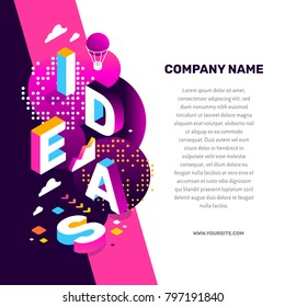 Creative idea concept. Vector creative abstract illustration of 3d ideas word lettering typography with decor element, text on color background. Isometric design for business idea web, site, banner