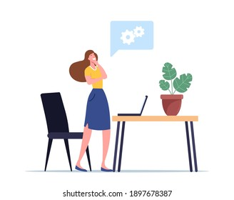 Creative Idea, Eureka Concept. Business Woman Character Searching Insights for Project Development. Excited Woman Stand at Workplace with Laptop and Cogwheels Above Head. Cartoon Vector Illustration