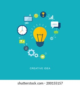 Creative idea flat illustration with bulb and icons. eps8