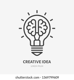 Creative idea flat line icon. Brain in lightbulb vector illustration. Thin sign of innovation, solution, education logo.