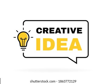 Creative Idea geometric message bubble with light bulb emblem. Banner design for business and advertising. Vector illustration.